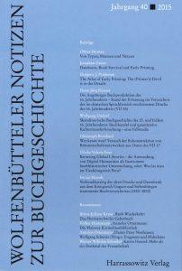 Wolfenbütteler Notizen zur Buchgeschichte 1-2/2015