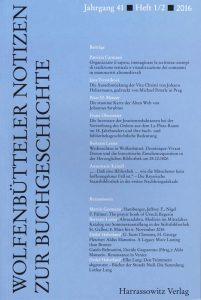 Wolfenbütteler Notizen zur Buchgeschichte 1-2/2016