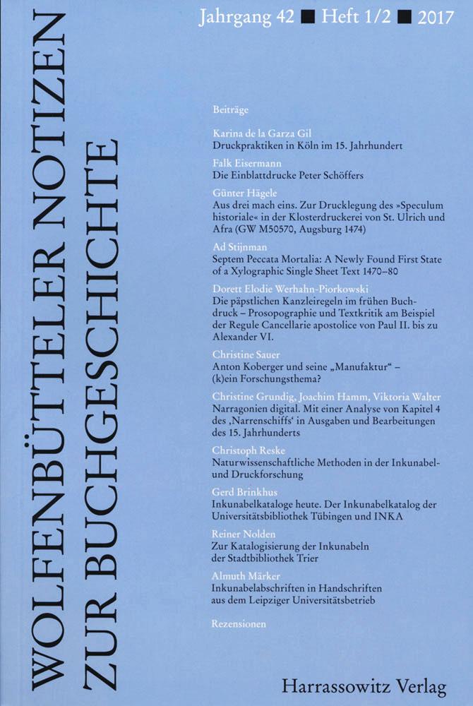 Wolfenbütteler Notizen zur Buchgeschichte 1-2/2017