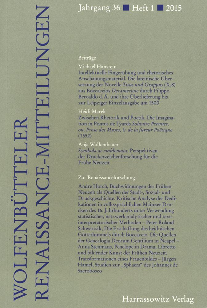 Wolfenbütteler Renaissance-Mitteilungen 1/2015