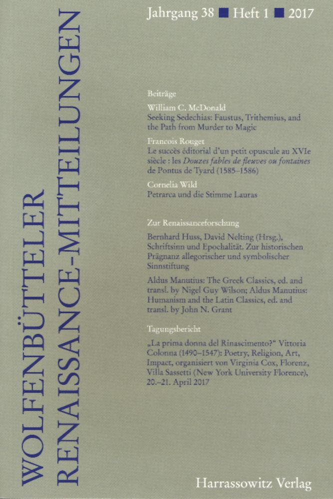 Wolfenbütteler Renaissance-Mitteilungen 1/2017