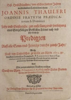 Rezeptionsorientierte Edition der Kirchenjahrespredigten Taulers